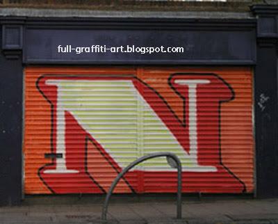 N  Graffiti alphabet letter.