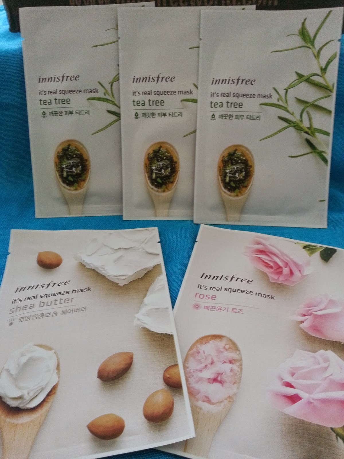 tea tree, shea butter, rose sheet masks