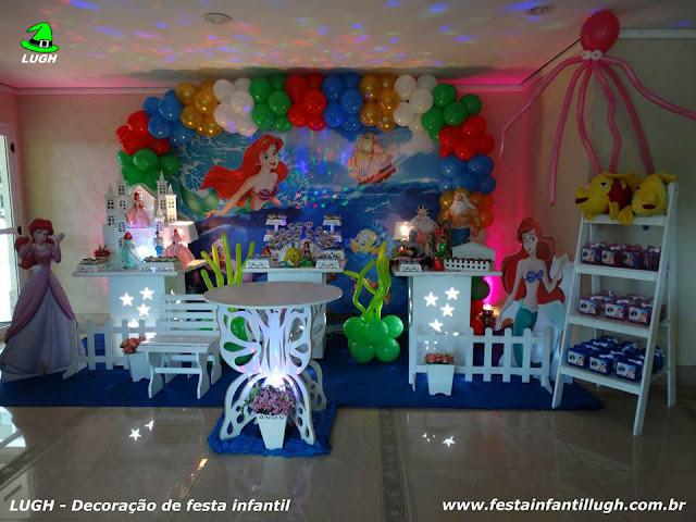 Tema A Pequena Sereia em mesa provençal para festa de aniversário infantil de meninas - Barra da Tijuca RJ