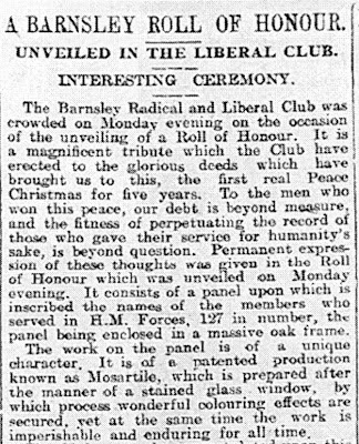 A newspaper clipping concering the unveiling of a commemorative panel in the Barnsley Radical and Liberal Club - further details in the text