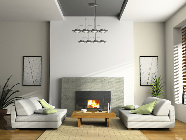 Fresh living room design with fireplace photo