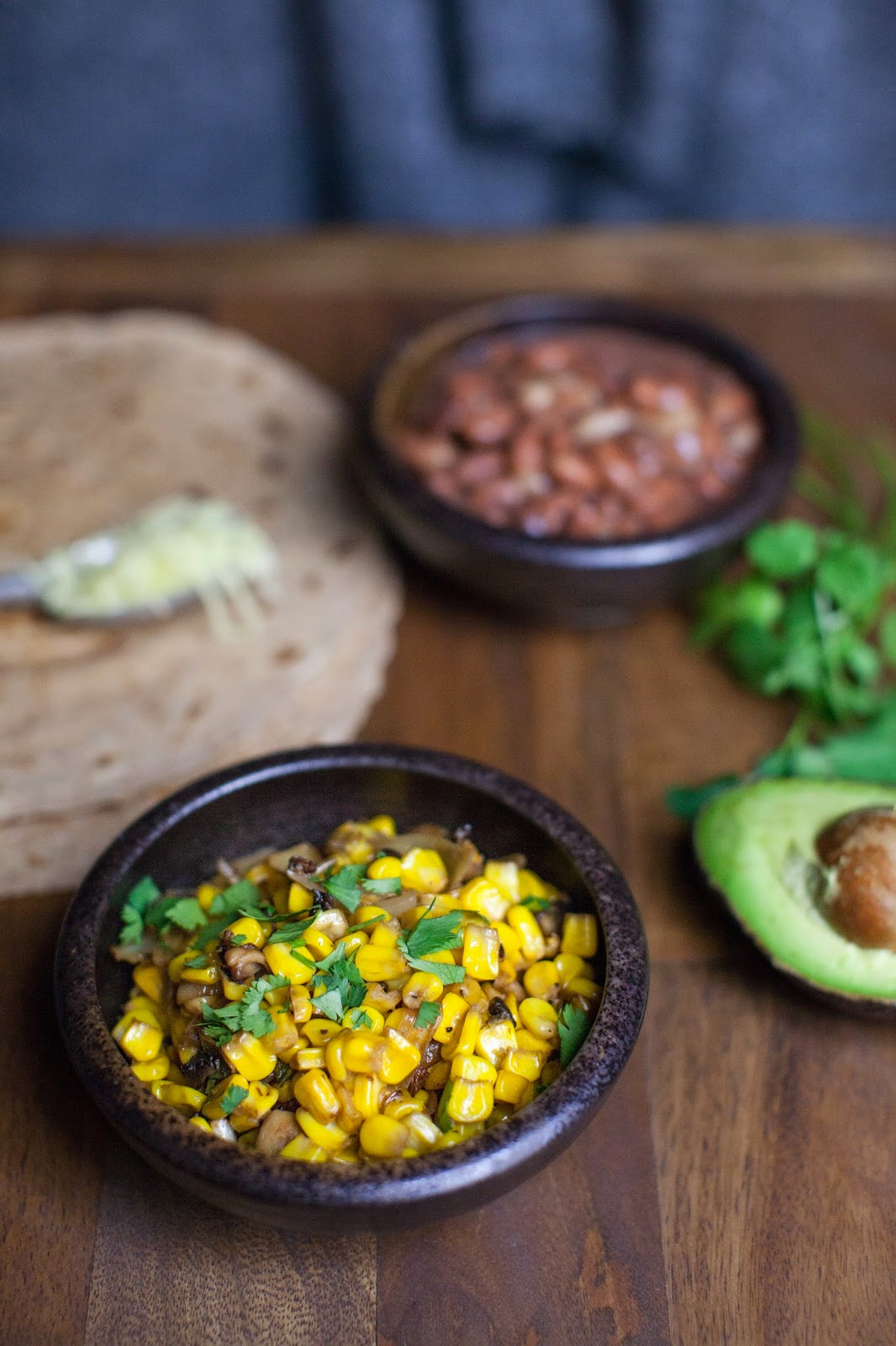 Great for Mexican night.  Corn, jalapeno, mushrooms, and cilantro.