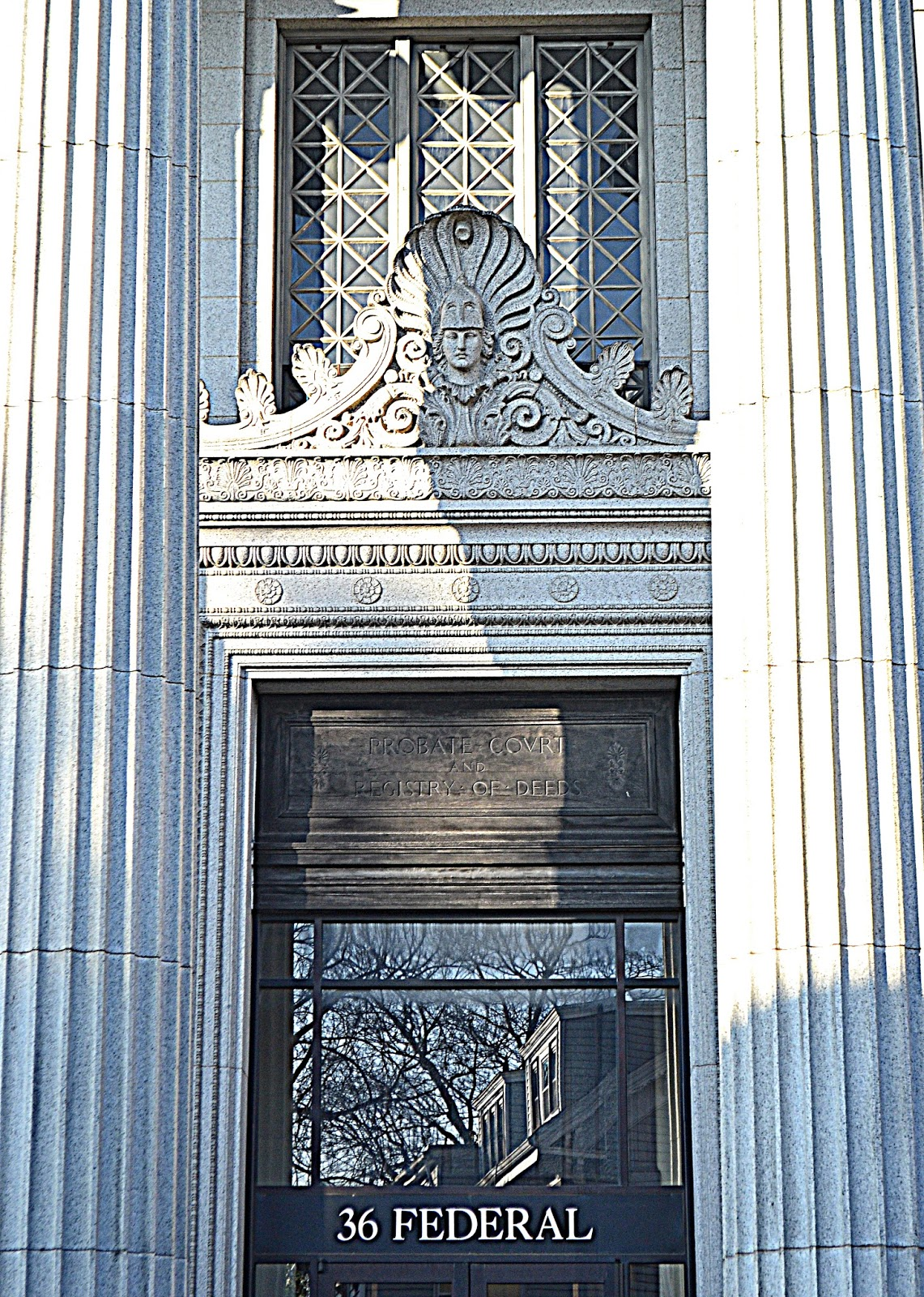 court, courthouse, shadow, columns, granite, gray, figurehead, bust