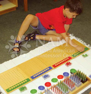 NAMC montessori math materials appropriate homework boy with skittles