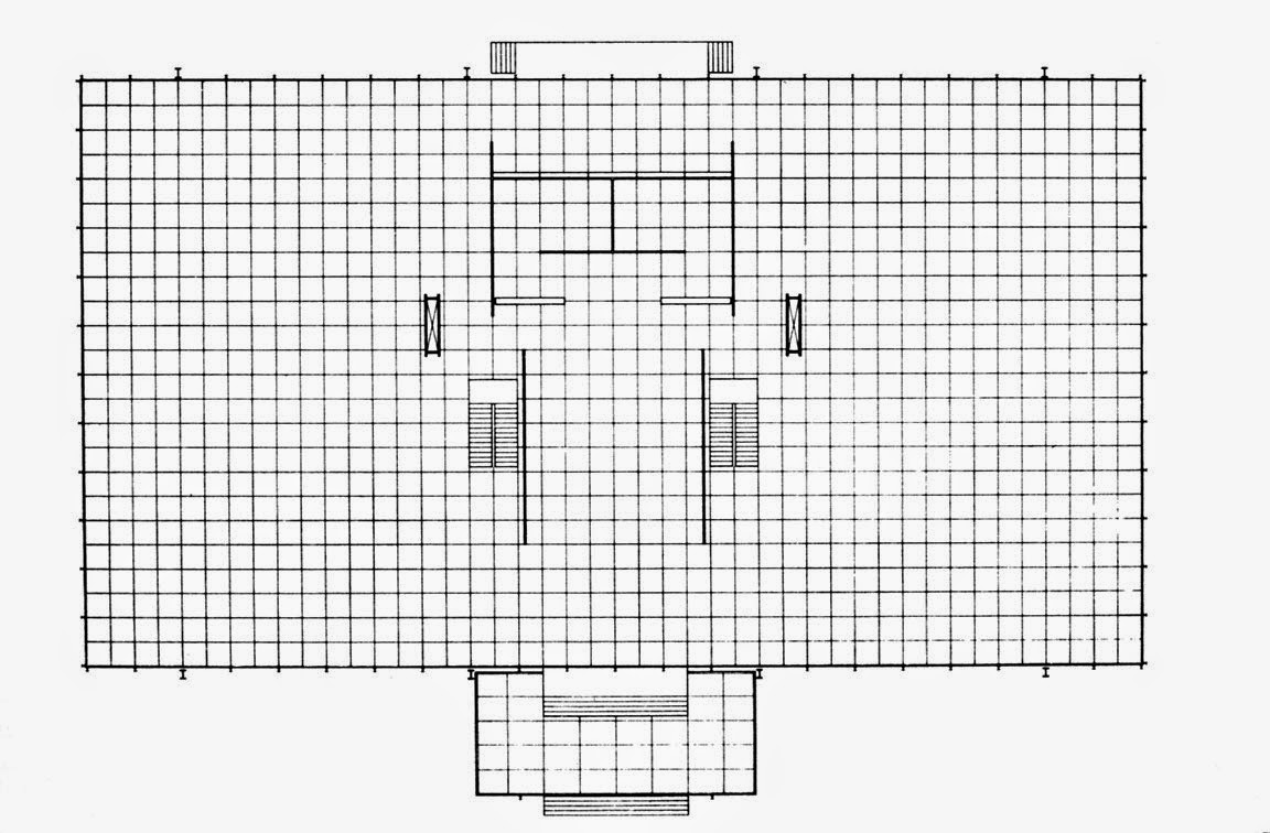Unique LEFT Floor plan Crown Hall by Mies van der Rohe at the IIT Campus in Chicago
