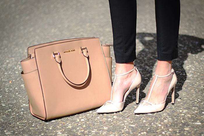 Michael Kors Selma Bag, Zara nude heels