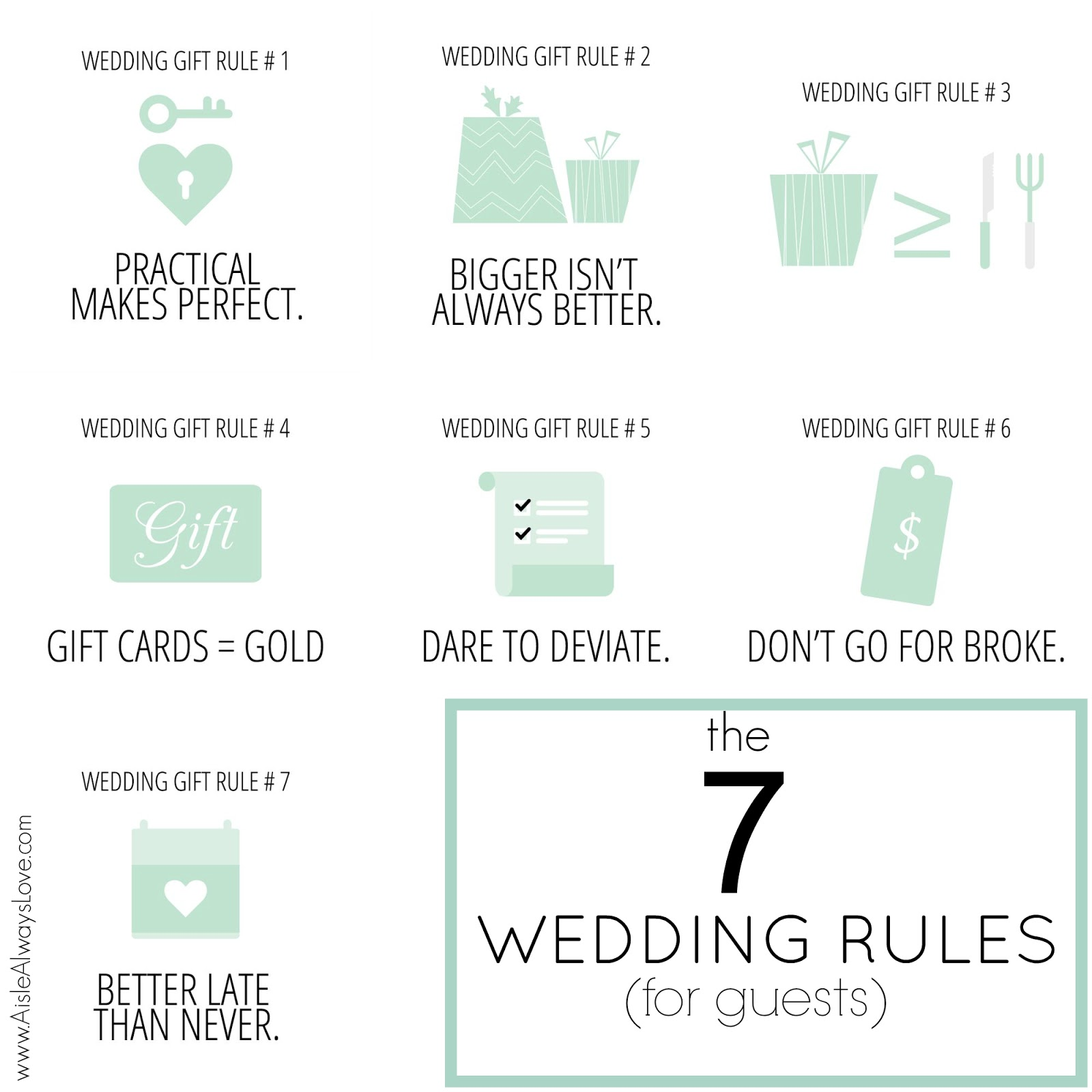 ... past 7 weeks Ive shared 7 Wedding Gift Rules for guests to consider
