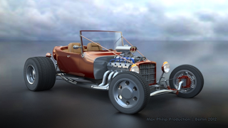 Hot Rod front view right rendered with iray