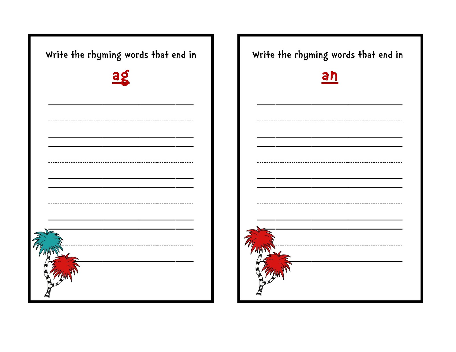 Preschool Printables: Dr. Seuss Rhyming Word Set