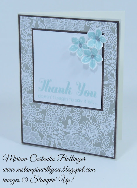 Miriam Castanho Bollinger, #mstampinwithyou, stampin up, demosntrator, dsc, thank you, something borrowed DSP, petite petals, lots of thanks, petite petals punch, su