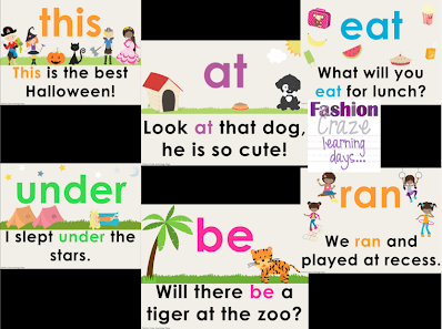 Primer Sight Word of the Day Set Samples
