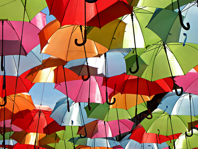 colorful umbrellas colors