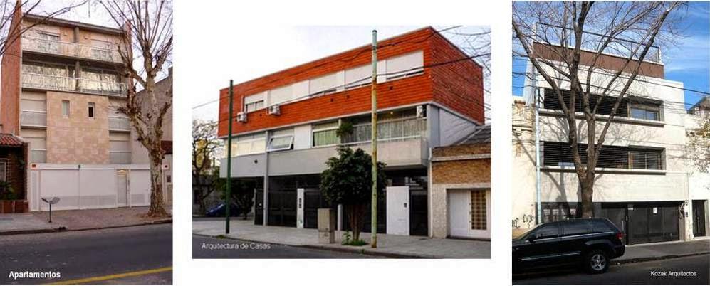 Tres edificios residenciales contemporáneos de baja altura en la Ciudad de Buenos Aires