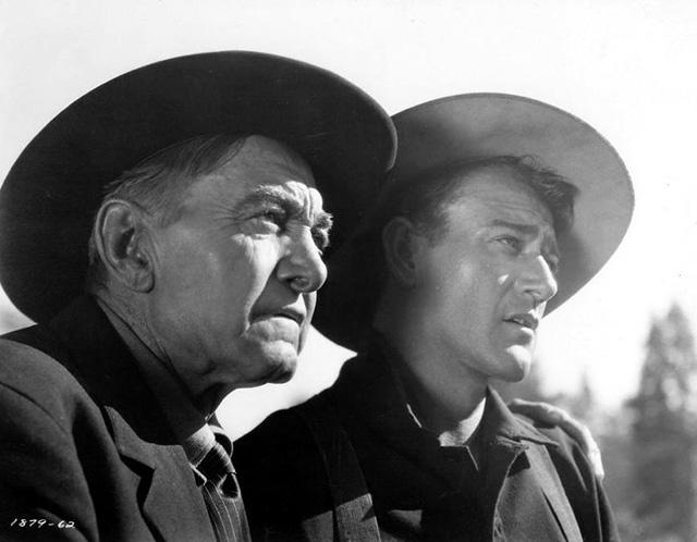 Harry Carey Sr. y John Wayne durante el rodaje de Río Rojo.