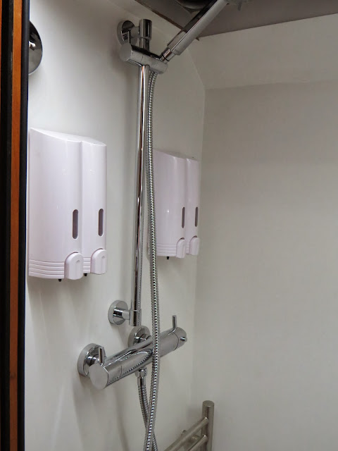 Cheap soap dispensers bought from amazon, fitted into the motorhome bathroom / wetroom