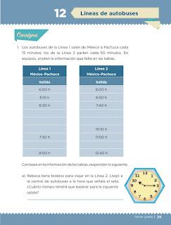 Apoyo Primaria Desafíos matemáticos 3er grado Bloque 1 lección 12 Líneas de autobuses