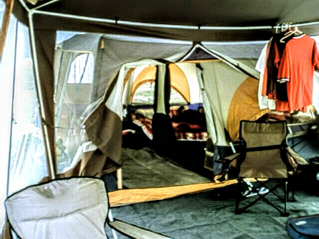 View from screen room into tent & Home is where the 5th Wheel is: The Genesis Of Our Story