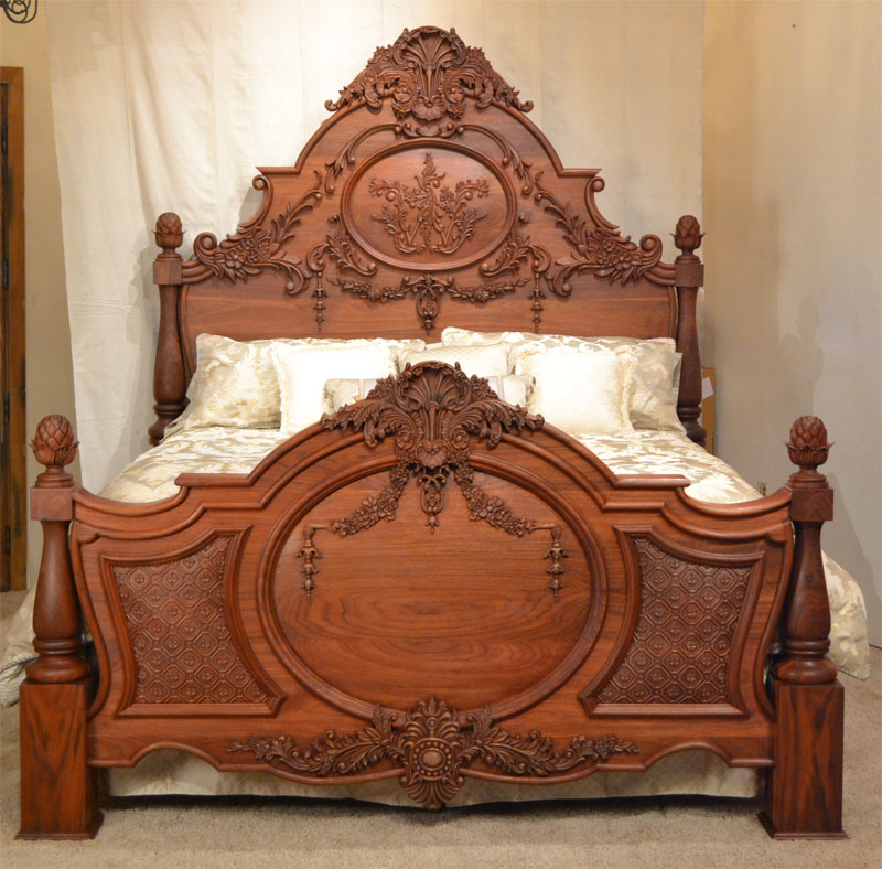 Crating technology s ornate carved wood bed