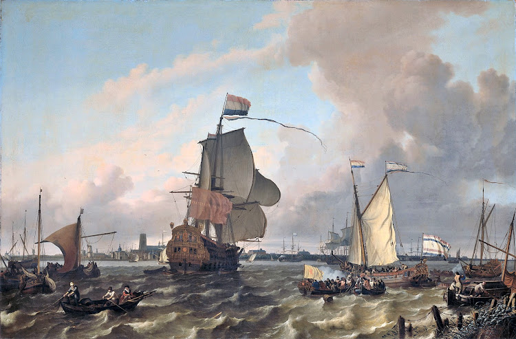 Ludolf Bakhuizen - The warship Brielle on the Maas before Rotterdam 1689