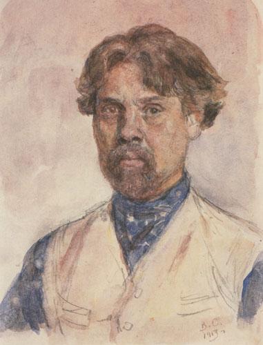 Surikov, autorretrato en acuarela, 1913