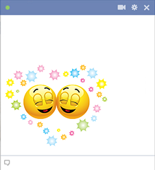 Emoticons happily in love