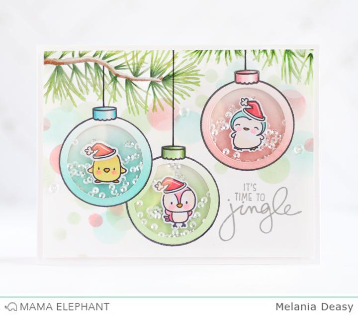 Mama Elephant Fun Holiday Shaker Cards