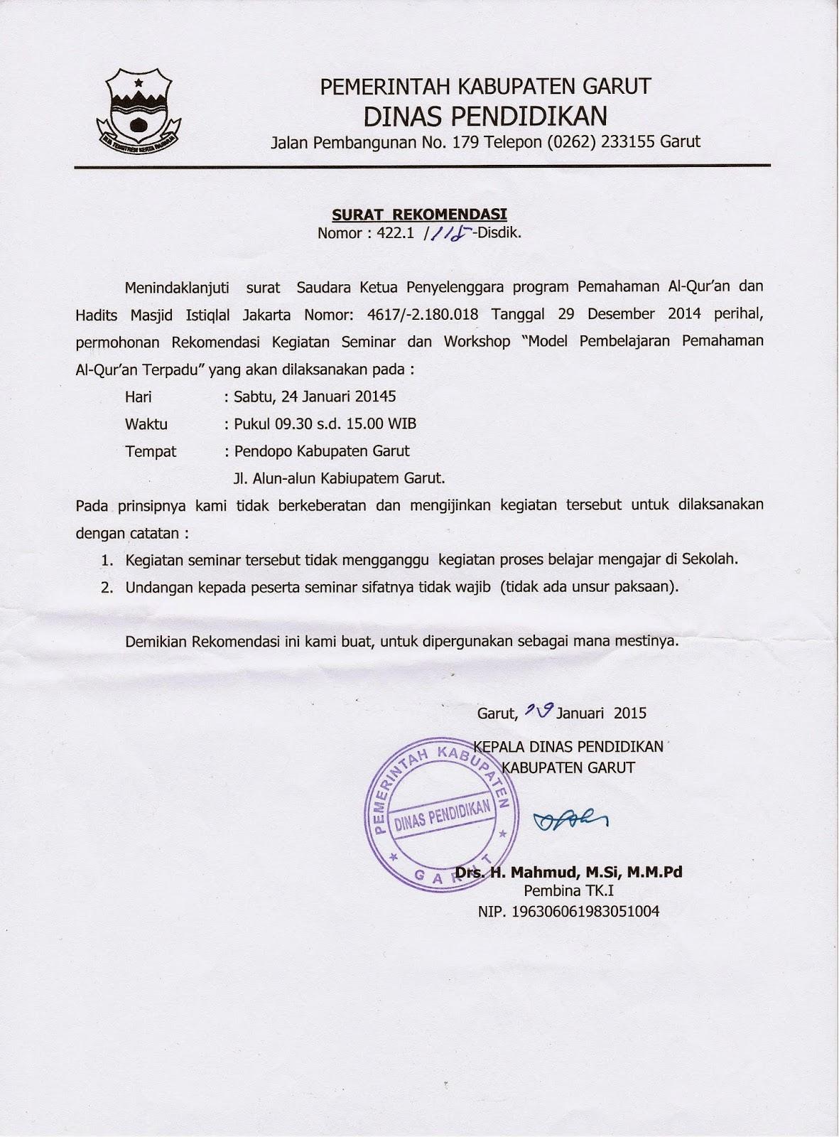 Kkg Pai Garut Surat Rekomendasi Kegiatan Seminar Dan Workshop