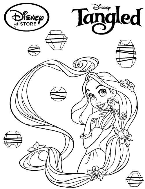 Disney Princess Coloring Pages - Rapunzel Tangled Princess Coloring  title=