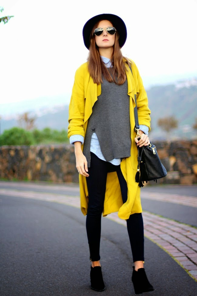 mustard trench fashion blogger style