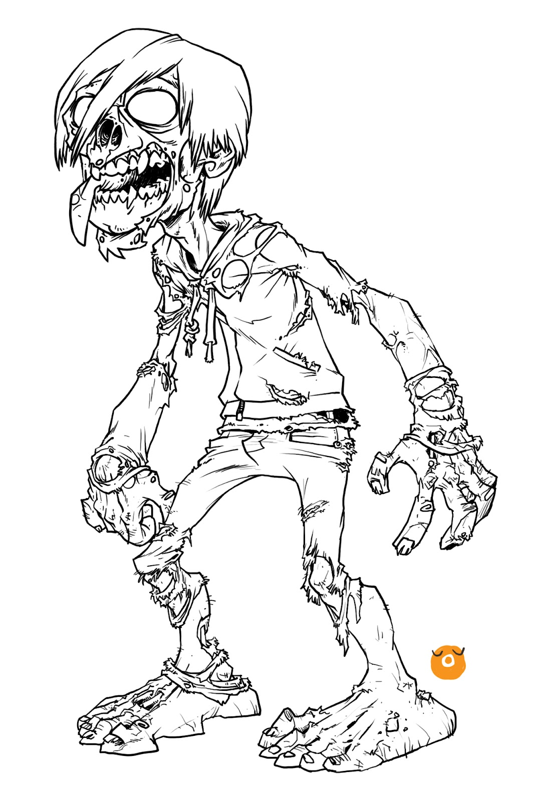 Line Drawing Of A Zombie : The art of oren kolaborasi zombie an open call for color