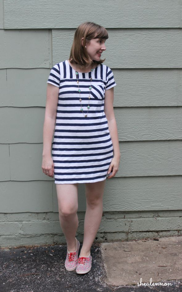 summer weekend look: striped dress with sneakers | www.shealennon.com