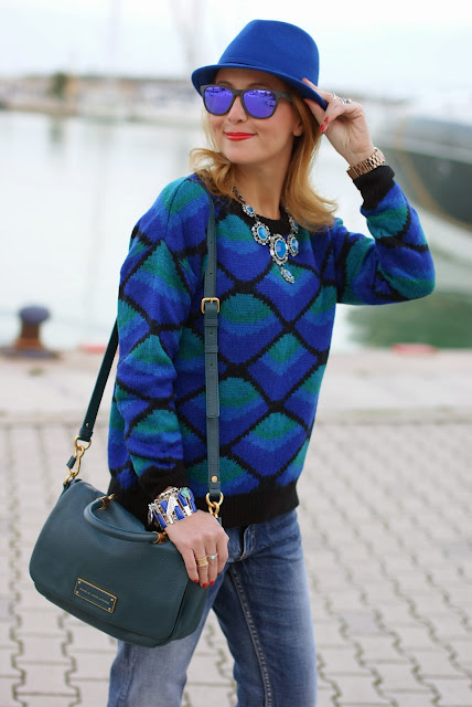 Royal blue fedora hat, Marc by Marc Jacobs too hot to handle flaptop, Chicwish sweater, Fashion and Cookies, fashion blogger
