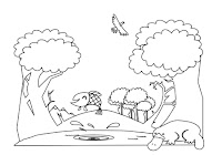 Platypus and fish in forest animals coloring book by Robert Aaron Wiley for Microsoft Office Online