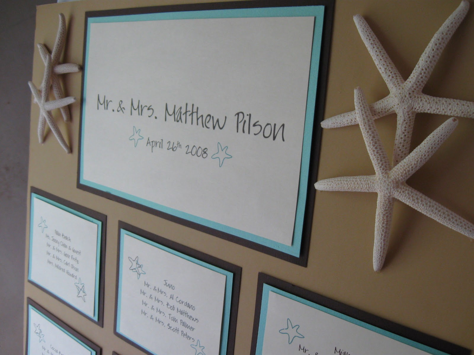 This and that creations beach theme wedding seating board starfish