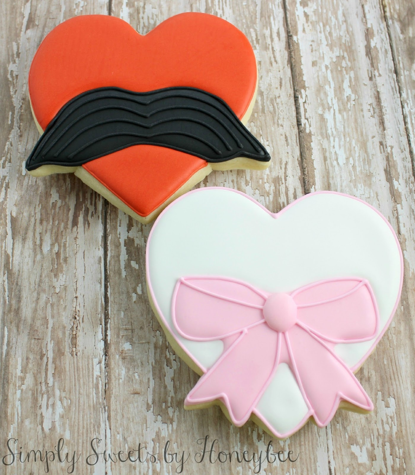Mustache & Bow Heart Cookies