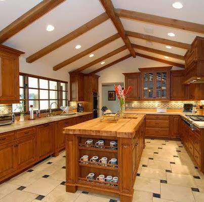Dise o de isla de cocina con estantes para vajilla - Disenos de islas para cocinas ...