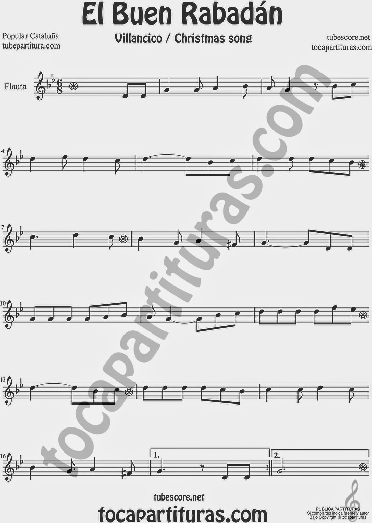 El Buen Rabadán Partitura de Flauta Travesera o Flauta Traversa Sheet Music for Flute Music Scores Villancico Christmas Carol
