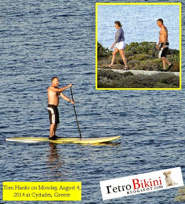 We knew you stayed in good shape and just looking to his muscular body, he is one fit actor in Hollywood. Tom Hanks has taken up paddle boarding and Retrobikini.blogspot.com spoke to an eyewitness, who saw the 57-year-old catching waves on a private beach at Cyclades in Greece on Monday, August 4, 2014.