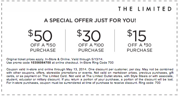 The Limited In Store Coupon