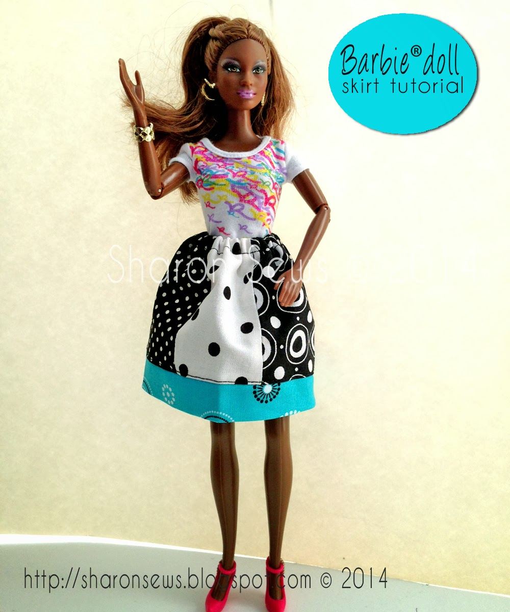 "Learn how to sew a doll skirt to fit 11-1/2"" doll like Barbie (r)"