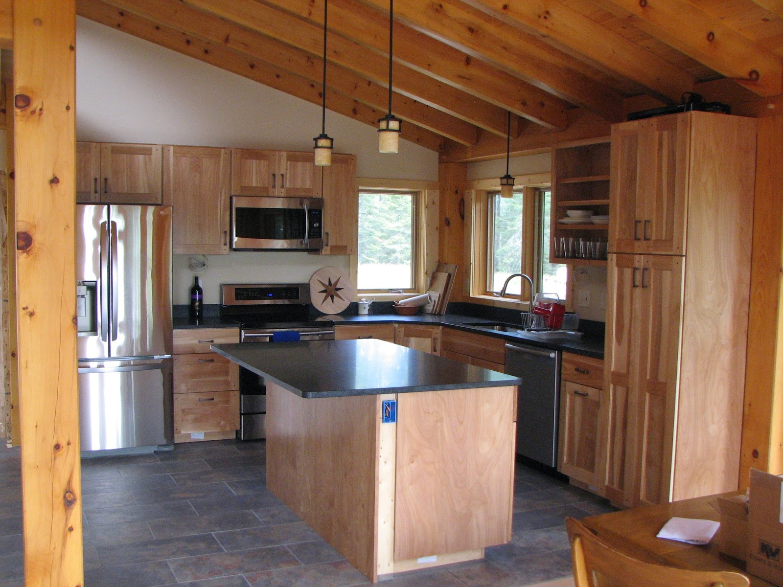 honed, mesabi, black, granite, red birch, cabinets, timber frame, Ely Minnesota, huisman