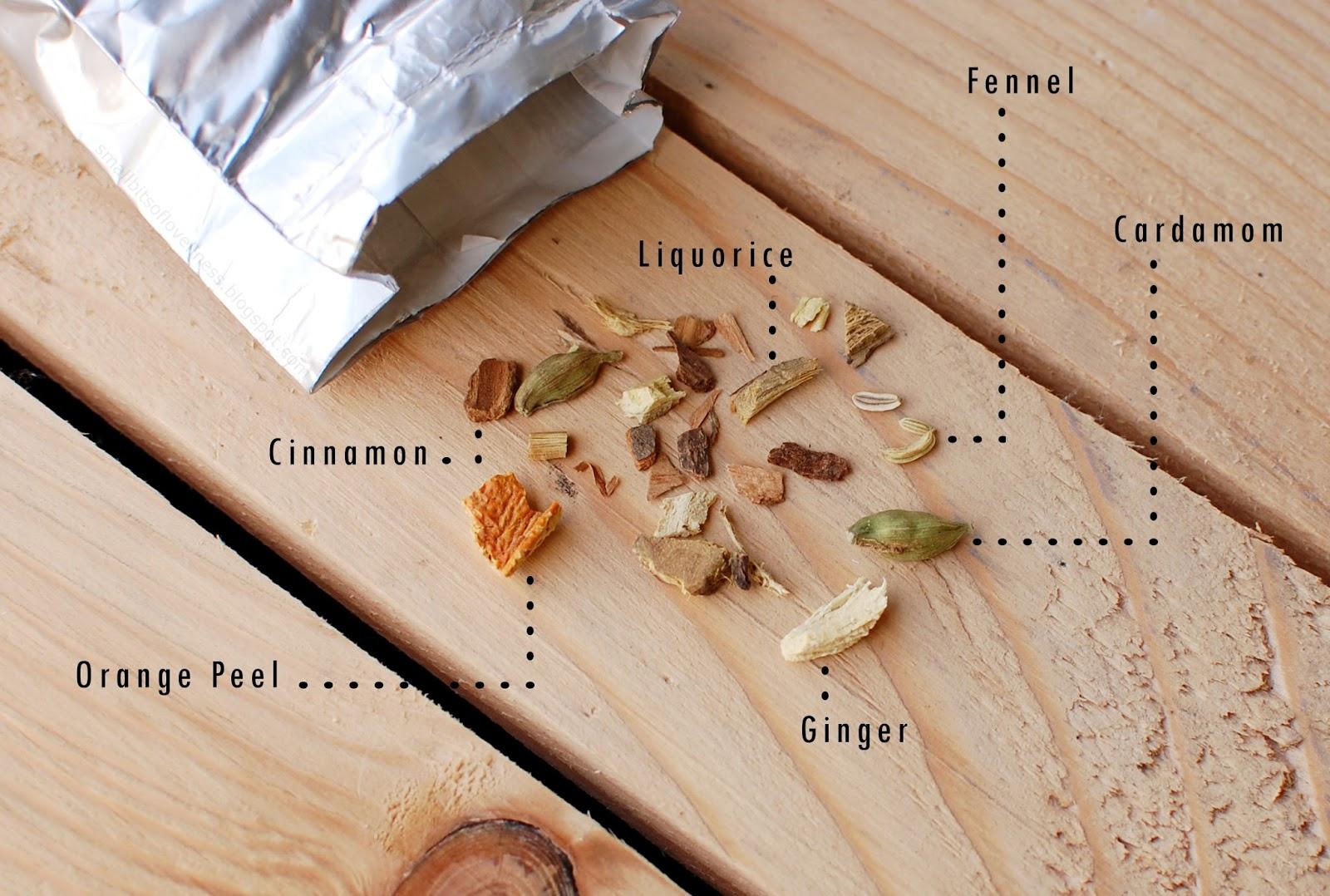 Cha Ajurvedski čaj za pomiritev sestavnie, Ayurvedic Calming Tea ingredients