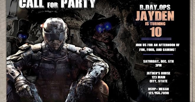 Call Of Duty Birthday Invitation Black Ops 3 Party Invitation
