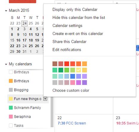 Creating a Google Calendar for paperless calender organization.