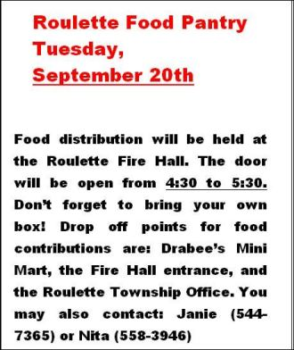9-20 Roulette Food Pantry