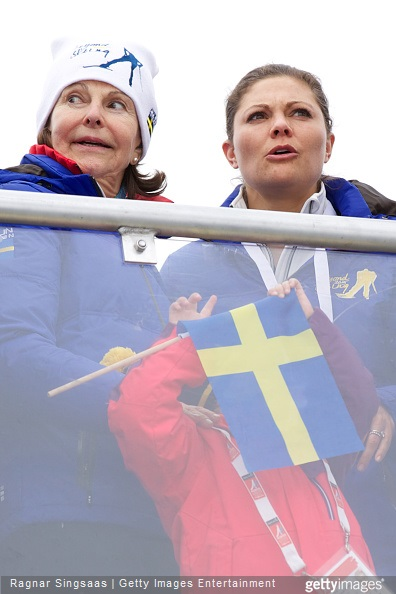 Queen Silvia of Sweden, Princess Estelle of Sweden and Crown Princess Victoria of Sweden attend the FIS Nordic World Ski Championships