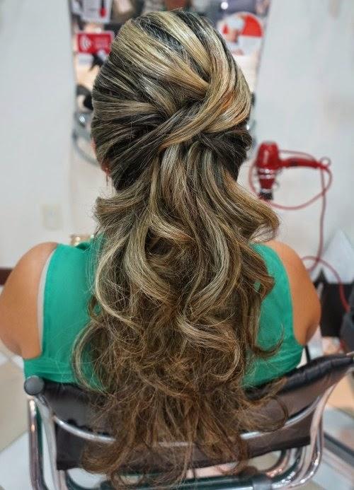 penteados semi presos para madrinhas de casamento cabelos longos