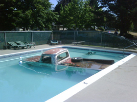 Truck in a pool