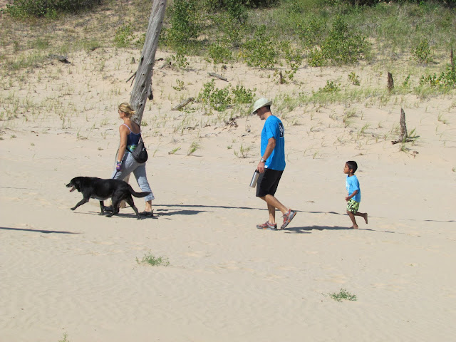 Family with Dog hiking Sleeping Bear Dunes (photo by J. Schechter)
