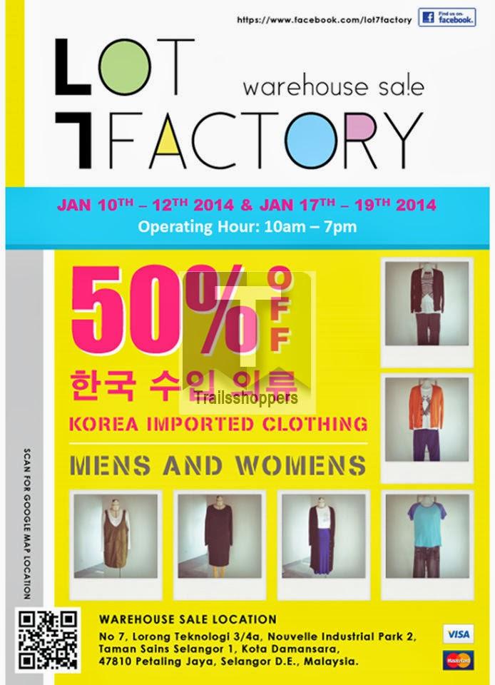 Lot7 Factory Korean Apparels Warehouse Sale for MEN & WOMEN at Kota Damansara